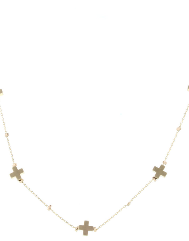 "16"" Gold Cross Station Necklace"