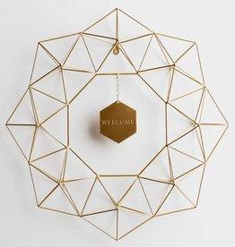 Geometric Metal Wreath - Peace on Earth + Welcome