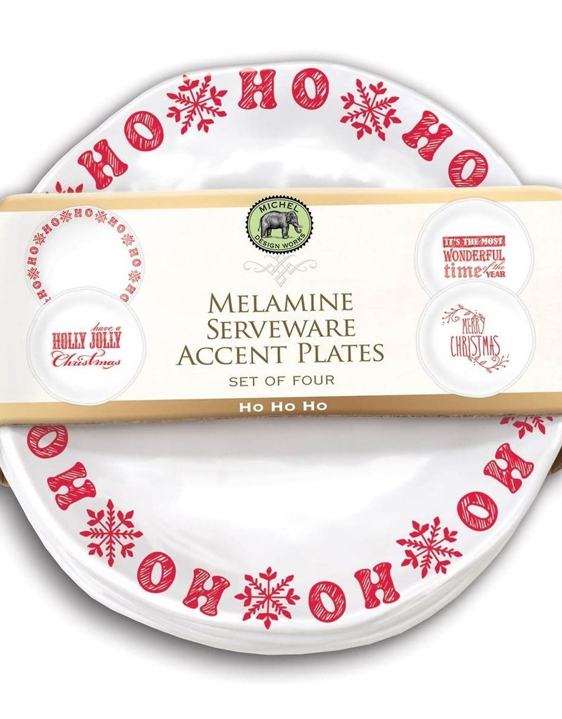 Ho Ho Ho Set of 4 Accent Plates Melamine