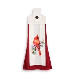Cardinal & Holly Buttom Loop Tea Towel