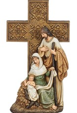 """10.5"""" Holy Family with Cross  Figurine"""