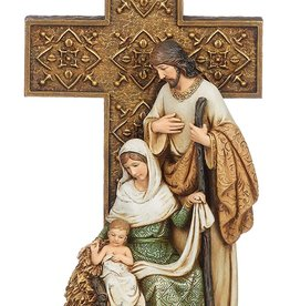 "10.5"" Holy Family with Cross  Figurine"