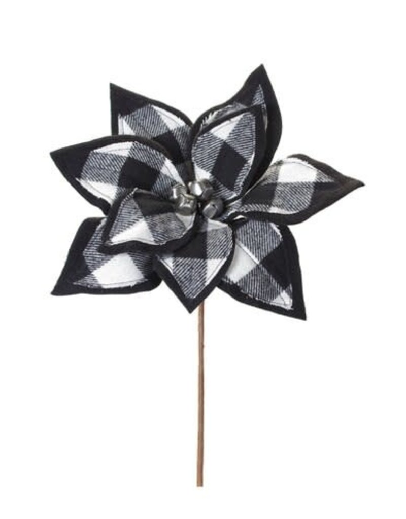 B/W Buffalo Check Poinsetta Pick w/ Bells