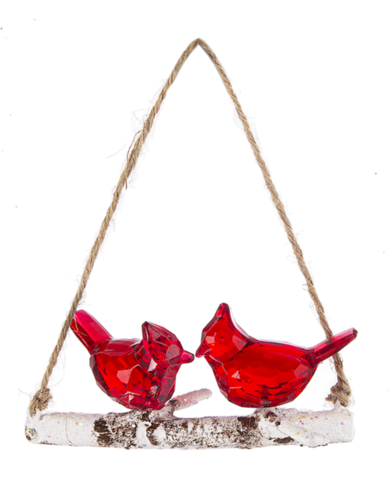"4"" Cardinal On Branch Ornament"