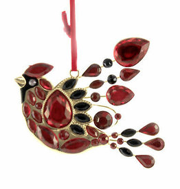 """4.5"""" Cardinal Ornament Black and Red"""