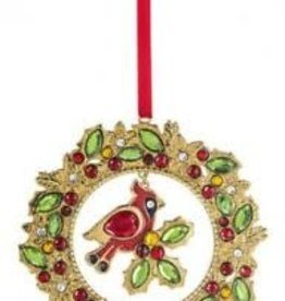 "3.75"" Cardinal Wreath Ornament"