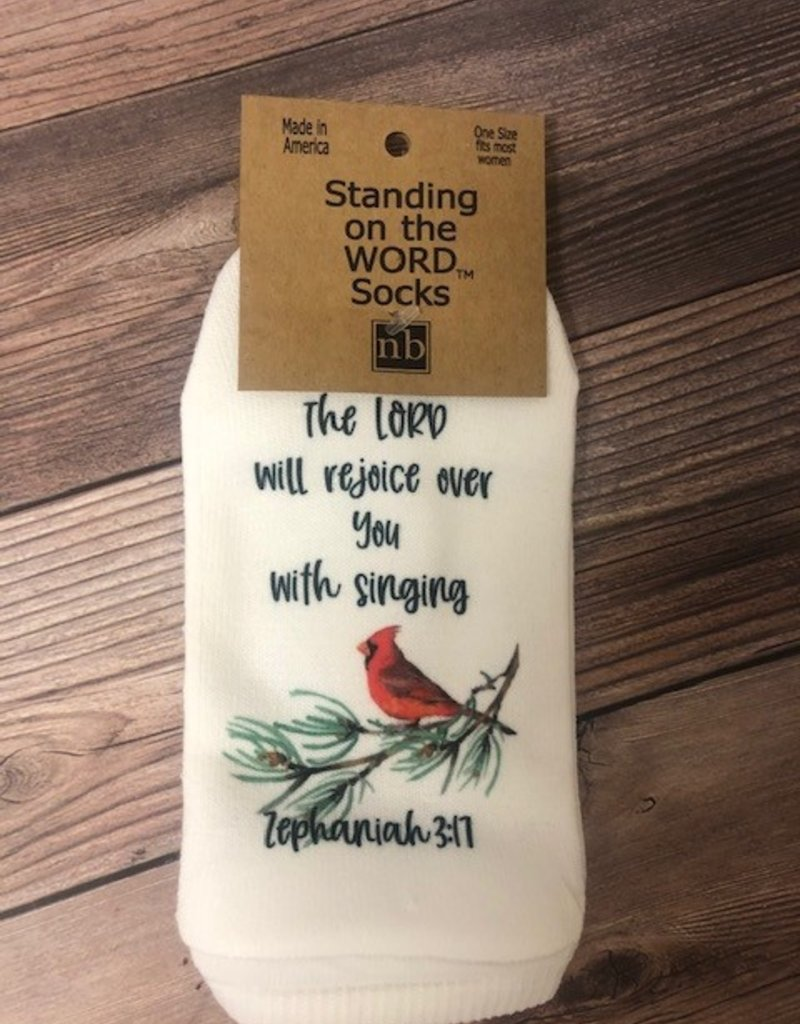 Standing on the WORD socks Lord Rejoices (Cardinal) Zeph 3:17