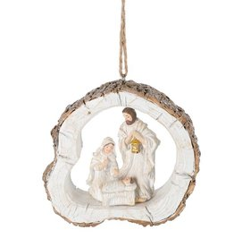Holy Family White  Log Ornament