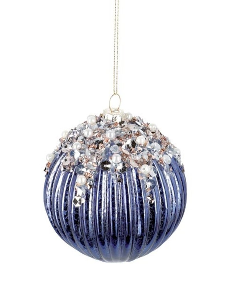 BLUE GLASS ORNAMENT WITH SEQUINS