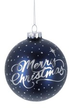 BLUE AND SILVER MERRY CHRISTMAS ORNAMENT