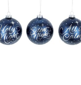 DARK BLUE AND SILVER GLASS ORNAMENTS w/ Message