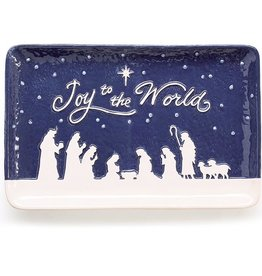BLUE CERAMIC NATIVITY SCENE TRAY