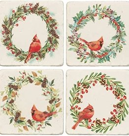 Cardinal Wreath Coasters (4 pcs)
