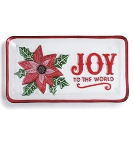 "15x8"" Joy to the World Poinsetta Platter"