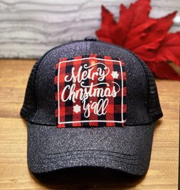 Buffalo Plaid Texas Patch on Black Glitter Hat