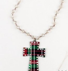 Red & Green Plaid Cross Necklace