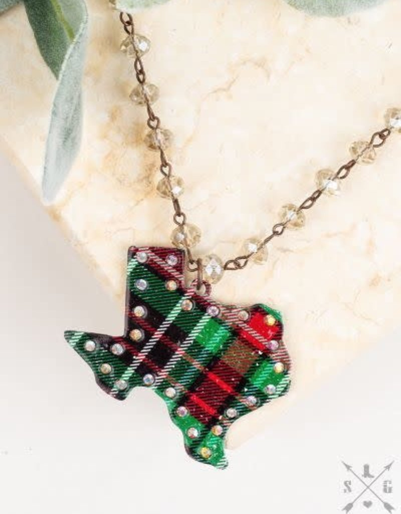 Red & Green Plaid Texas Necklace