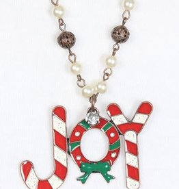 Candy cane Joy Necklace with Beading