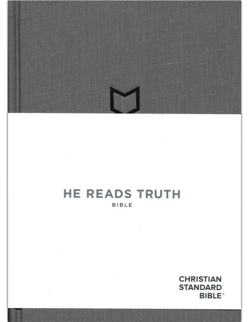 CSB - He Reads Truth Bible, Charcoal Cloth Over Board