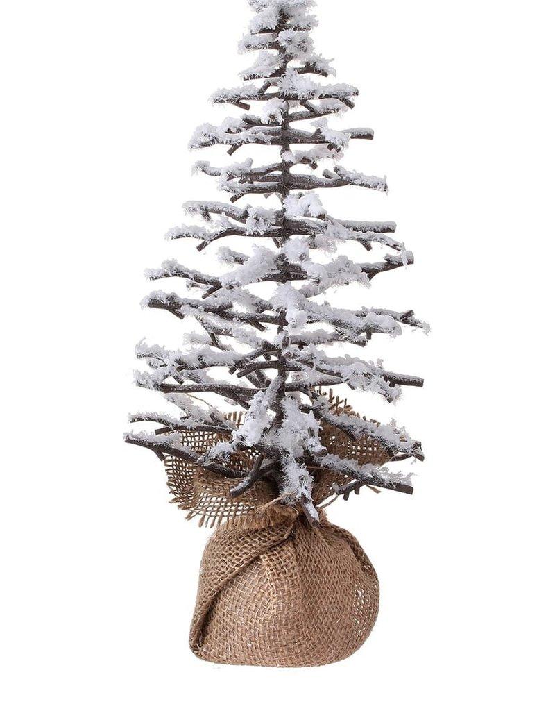 "14"" Snow Twig Tree with Burlap"