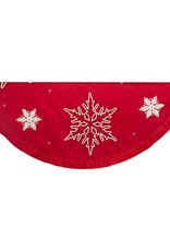 "60"" TREE SKIRT RED/SILVER SNOWFLAKE"