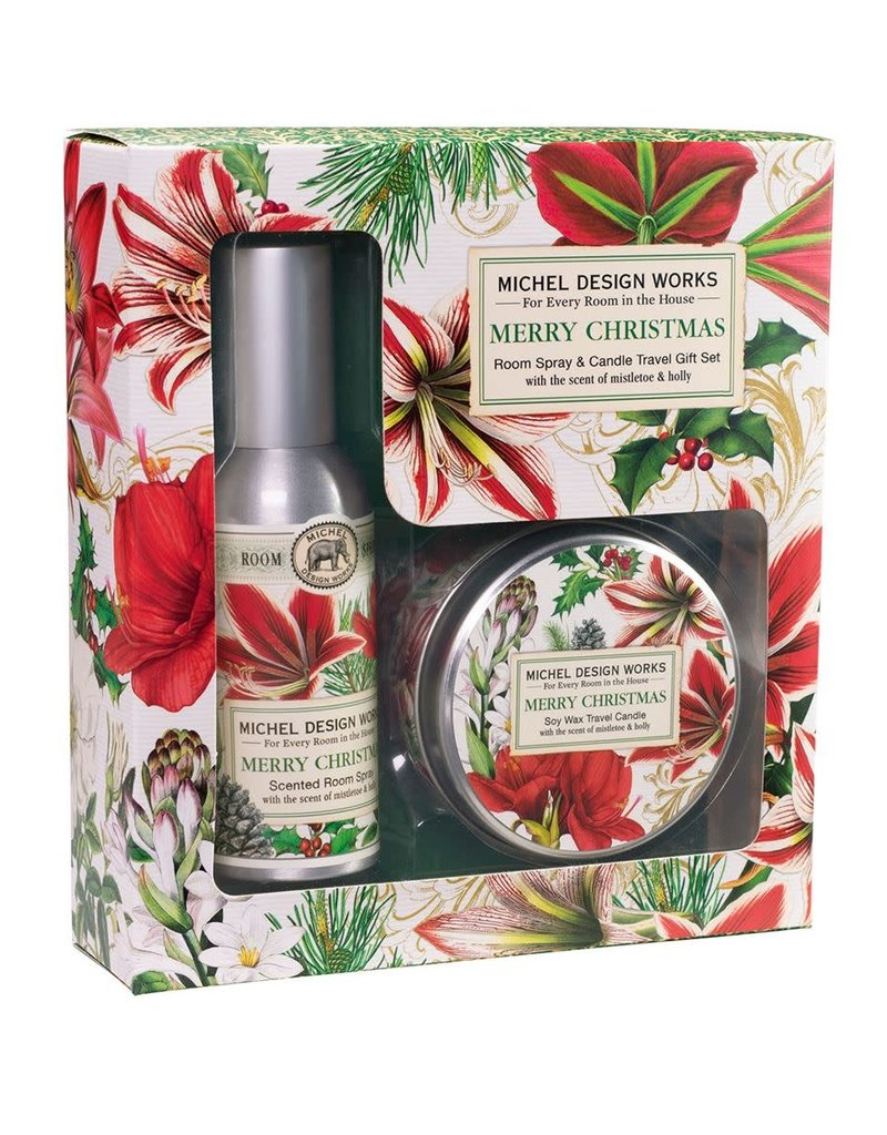 Merry Christmas Room Spray and Candle Travel Gift Set