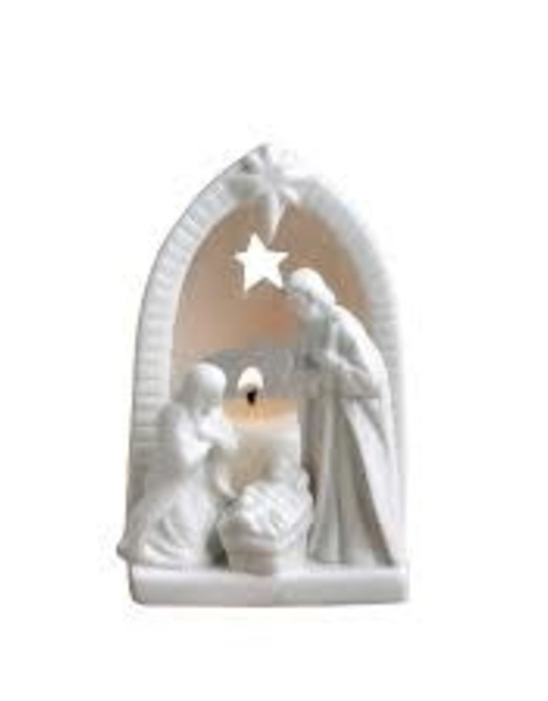 "4.25"" Ceramic Nativity Tealight"