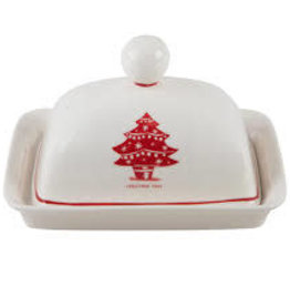 """7"""" Christmas Tree Covered Butter Dishes"""