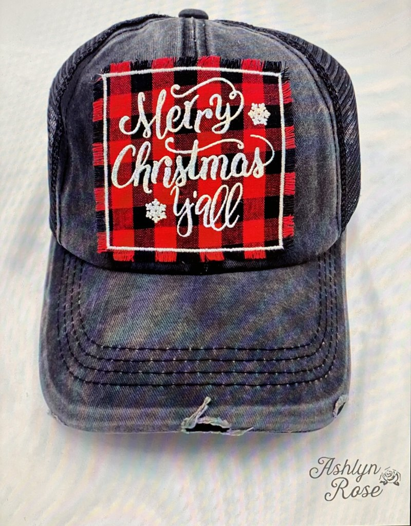 Hat-Merry Christmas Y'all on Plaid