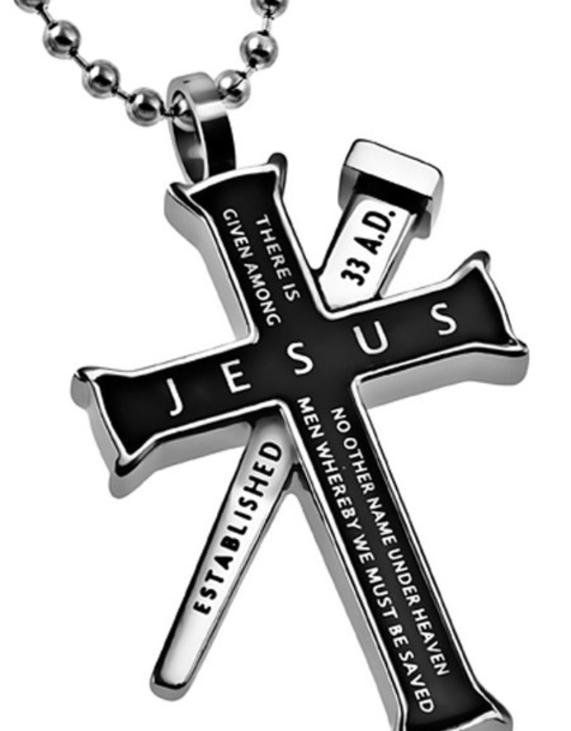"""Black Established Cross Jesus Necklace 24"""""""