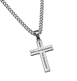 "Truth Cross Strong & Courageous 24"" Necklace"