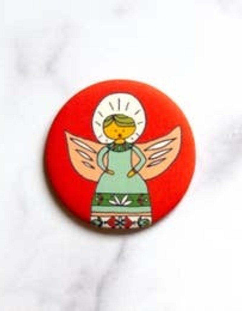 Caroling Angel Round Magnet