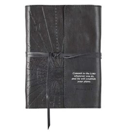 Commit to the Lord Journal, Genuine Leather, black with Wrap Closure