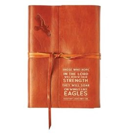 Wings Like Eagles Journal, Genuine Leather, tan with Wrap Closure