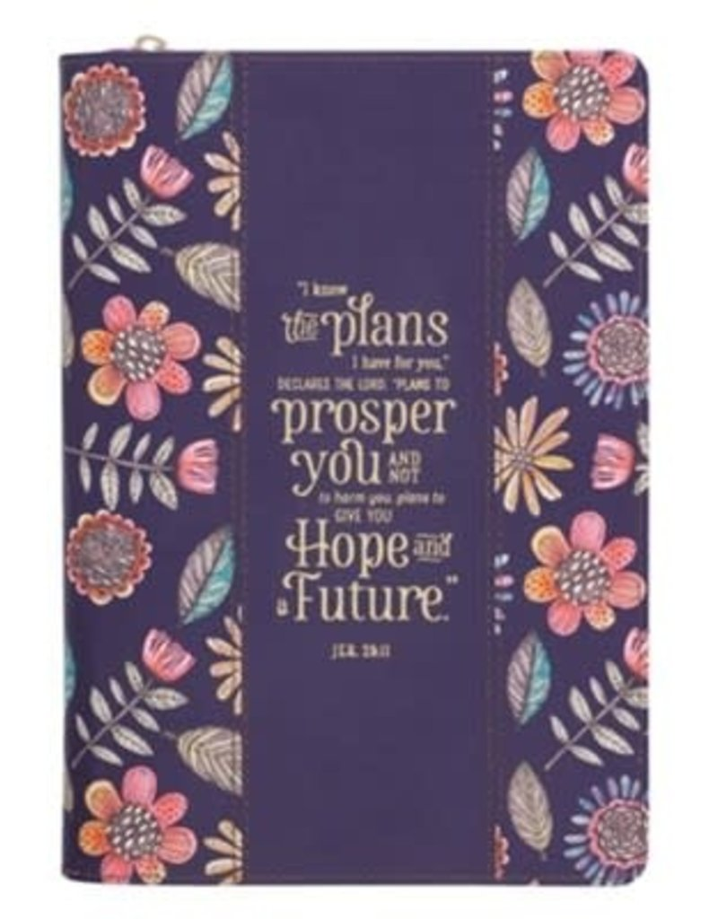 I Know the Plans Classic Journal, Floral Navy Blue with Zipper Closure