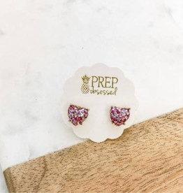 Glitter Confetti Heart Studs - Fuchsia