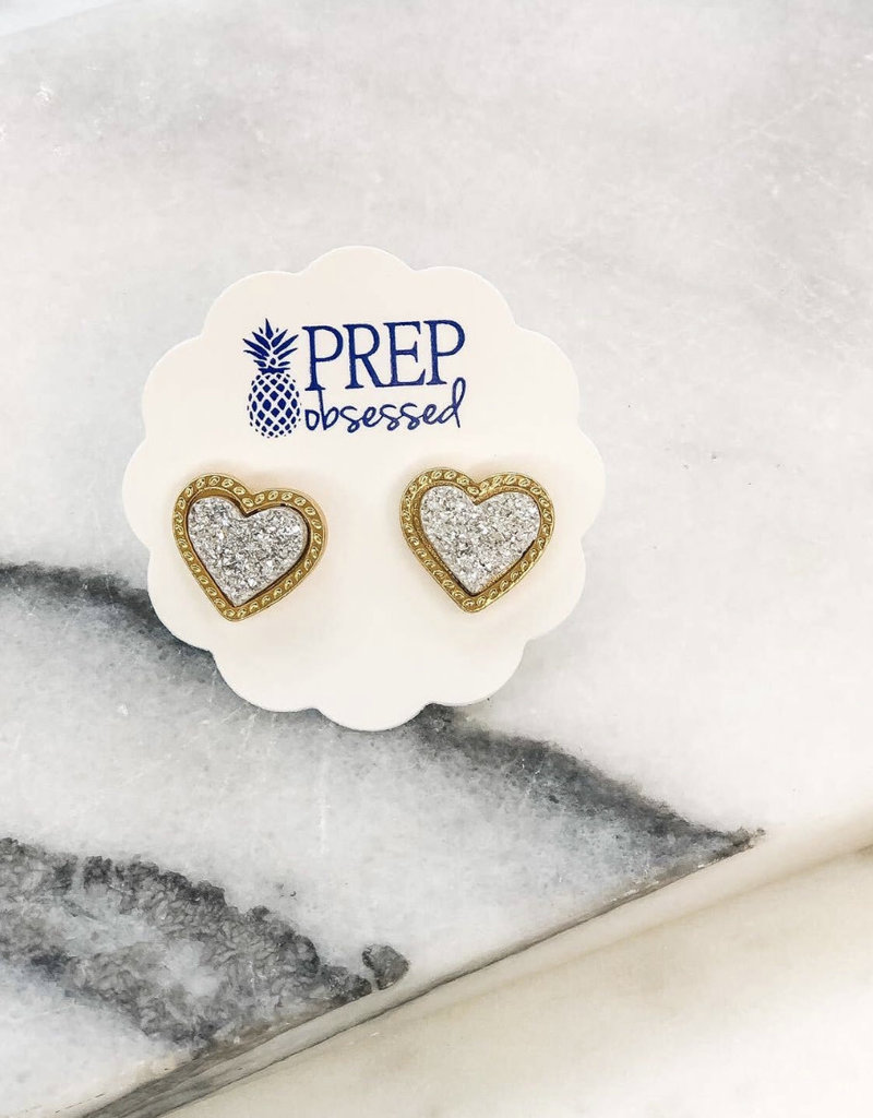 Druzy Heart Stud Earrings- Silver