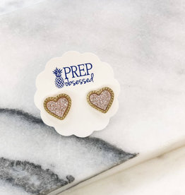 Druzy Heart Stud Earrings- Rose Gold
