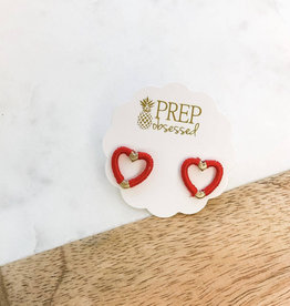 Red Thread Open Heart Stud Earrings