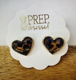 Leopard Print Heart Stud Earrings