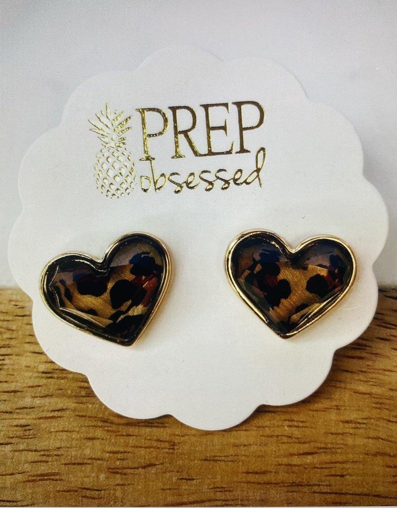 Leopard Print Heart Stud Earrings