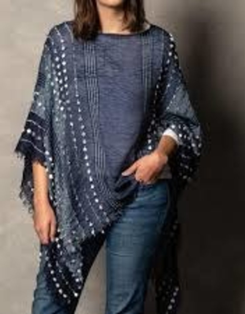 Textured Poncho- Navy