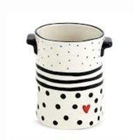 Black Dots & Stripes Crock