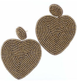 Gold Beaded Heart Earrings