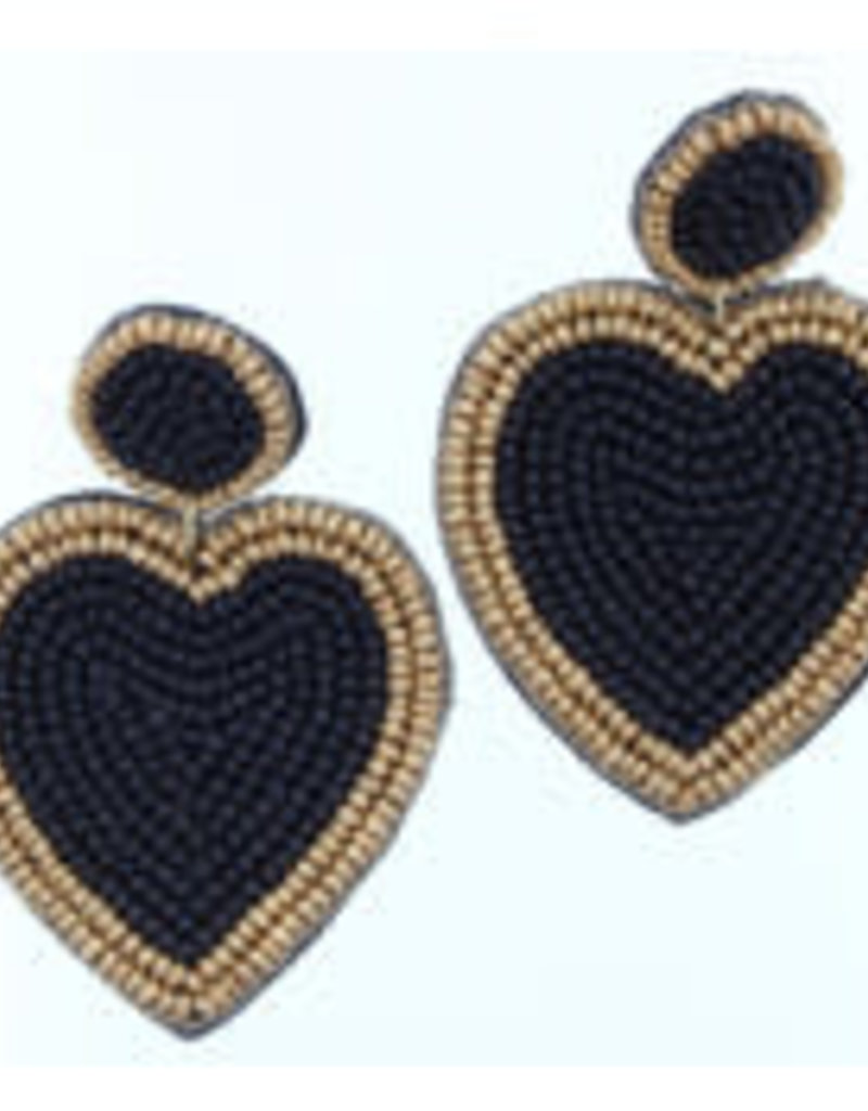 Black & Gold Beaded Heart Earrings