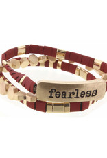 """Set of 3, Maroon and Gold Tila with """"Fearless"""" Bar Bracelets"""