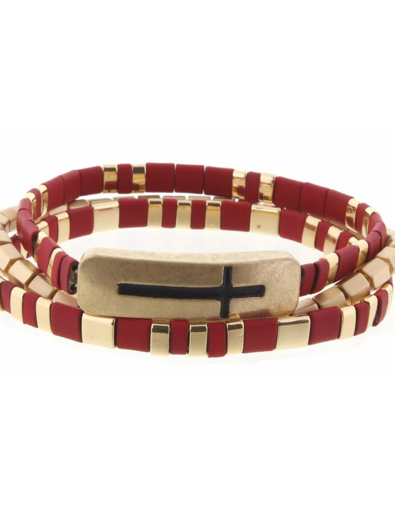 Set of 3, Red and Gold Tila with Cross Engraved Bar Bracelets