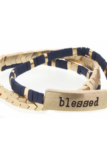 """Set of 3, Navy and Gold Tila with """"Blessed"""" Bar Bracelets"""