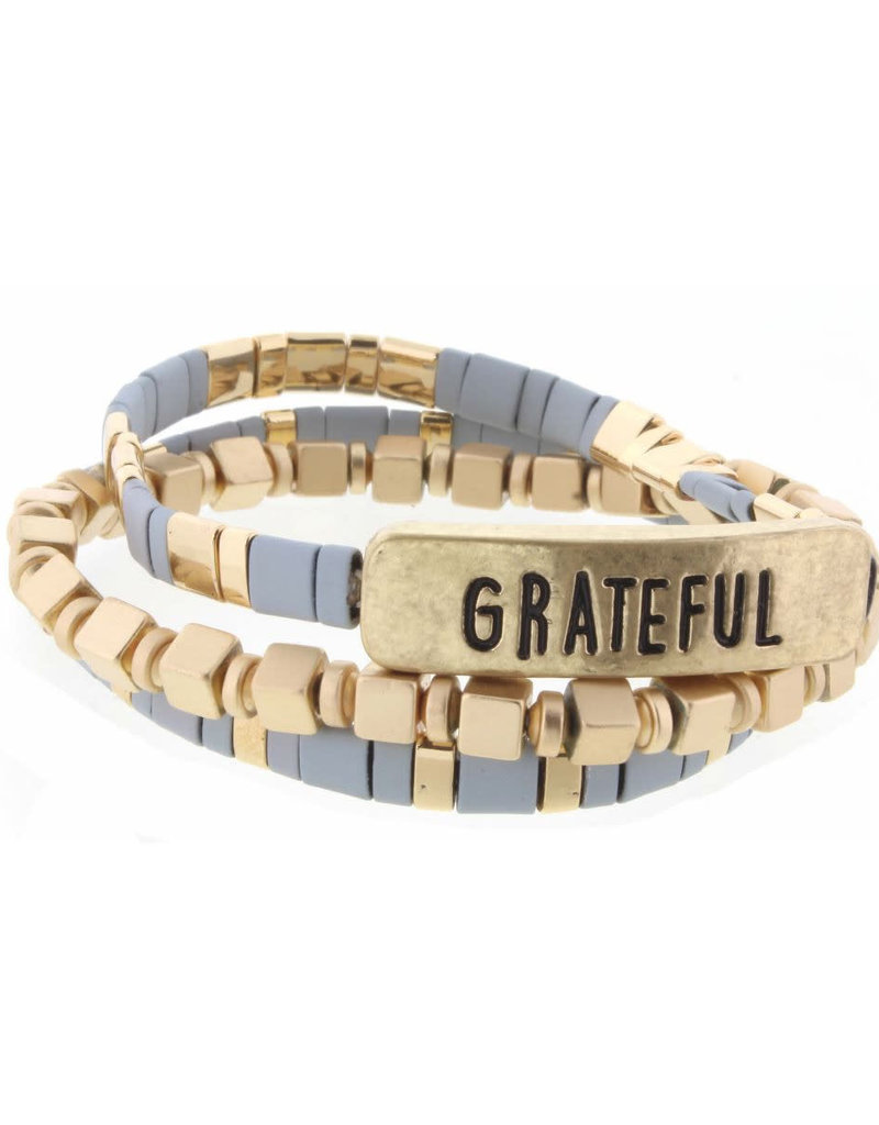 "Set of 3, Grey and Gold Tila with ""Grateful"" Bar Bracelets"