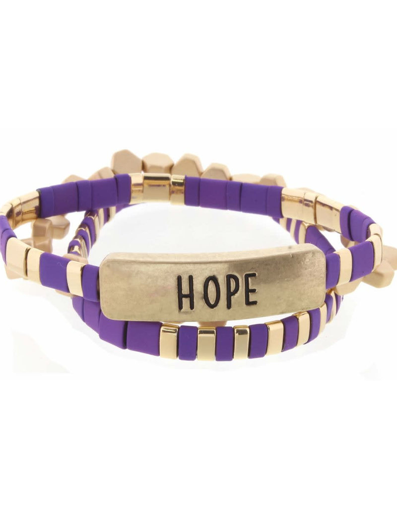 "Set of 3, Purple and Gold Tila with ""Hope"" Bar Bracelets"